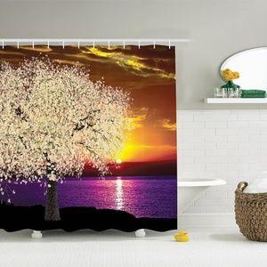 Shower Curtain Sakura Tree Sunset Print